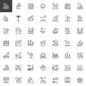 Nature Landscapes Outline Icons Set. Linear Style Symbols Collection, Line Signs Pack. Vector Graphi poster
