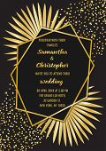 Wedding Glamorous Invitation Floral Card With Gold Geometric Frame And Palm Leaves On Black Backgrou poster