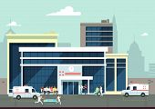 Accident And Emergency Hospital Exterior With Doctors And Patients. Medical Vector Concept. Clinic B poster