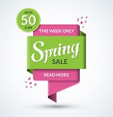 Spring Sale Banner. Discount Label. Special Offer Vector Template. Up To 50 Percent Off Badge Or Tag poster