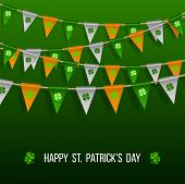 Colorful Festive Bunting With Clover On Green Background. Irish Holiday - Happy Saint Patricks Day B poster
