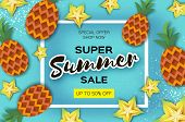 Pineappple And Carambola. Ananas And Starfruit Super Summer Sale Banner In Paper Cut Style. Origami  poster