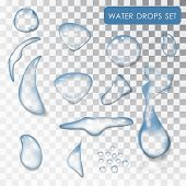 Set Of Water Drops. Transparent Individual Droplets Of Water. Vector Water. Drip Of Water, The Liqui poster