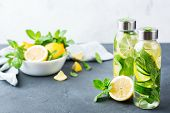 Fresh Cool Lemon Cucumber Mint Infused Water Detox Drink poster