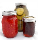 Homemade Organic Canned Foods in Glass Jars