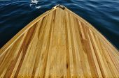 Wood Strip Bow Deck Of Wooden Boat