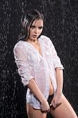 Wet Young Sexy Woman In Aqua Studio Under The Water Drops. poster