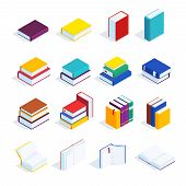 Set Of Isometric Books Isolated On White Background. 3d Books With Bookmarks, Open Books And Closed, poster