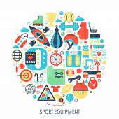 Sport Fitness Equipment Flat Infographics Icons In Circle - Color Concept Illustration For Sport Equ poster