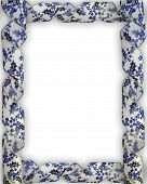 Blue And White Christmas Ribbon Frame
