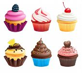 Realistic Vector Illustrations Of Cupcakes. Sweets For Birthday Party. Sweet Dessert Food And Birthd poster