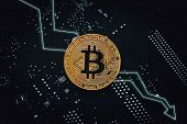Bitcoin Fall Down. Golden Bitcoin Coin - Symbol Of Crypto Currency And Arrow Down On Tech Background poster