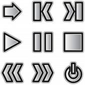 Vector web icons silver contour play