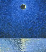 Young Moon Above The Sea. Waves, Sky And Horizon. Oil Painting. Magic Midnight. Calm Water. poster