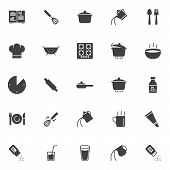 Cooking Instructions Vector Icons Set, Modern Solid Symbol Collection, Filled Style Pictogram Pack.  poster