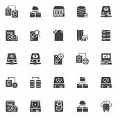 Data Recovery Vector Icons Set, Modern Solid Symbol Collection, Filled Style Pictogram Pack. Signs,  poster