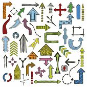 Colored Hand Drawn Sketched Arrows In Different Shapes Set. Doodle Arrows Collection. Vector Illustr poster