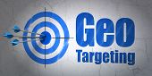 Success Business Concept: Arrows Hitting The Center Of Target, Blue Geo Targeting On Wall Background poster