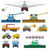 Set Agricultural Machine Vehicle For Cleaning, Watering Territories, Truck For Transportation, Tract poster