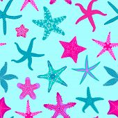 Sea Stars Seamless Pattern. Marine And Nautical Backgrounds With Starfishes. Starfish Underwater Inv poster