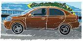 Stylized sedan vector