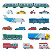 Transport Vector Public Transportable Bus Plane Or Train And Vehicle Or Bicycle For Transportation I poster