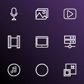 Media Icons Line Style Set With Microphone, Media Server, Minimize And Other Play Elements. Isolated poster