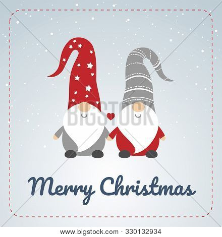 poster of Christmas Card With Scandinavian Gnomes Couple. Happy Cute Little Gnomes In Red And Grey Hats, Holdi
