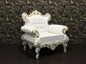 Leather Luxury Armchair With Frame Isolated On Wallpaper With Decoration