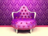 Luxurious Armchair Isolated On Wallpaper With Ornament
