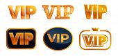 Vip Icons Set. Cartoon Set Of Vip Vector Icons For Web Design poster