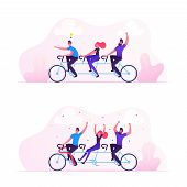 Team Work Business Success Concept. Businesspeople Riding Bicycle Generating New Idea, Man With Ligh poster