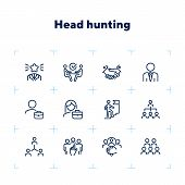 Headhunting Icon. Set Of Line Icons On White Background. Job Interview, Hr Manager, Partnership. Rec poster