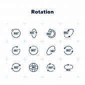 Rotation Line Icon Set. Set Of Line Icons On White Background. Geometry And Design Concept. Rotation poster