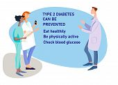 Diabetes Awareness Illustration. Diabetes Prevention And Control Concept. Hand Drawn Doctors With Di poster