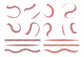 Baseball Ball Lace. Spherical Curve And Straight Red Stroke Lines Of Softball Ball. Vector Graphic E poster