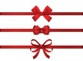 Red Realistic Bow. Horizontal Red Ribbon Collection. Holiday Gift Decoration, Valentine Present Tape poster