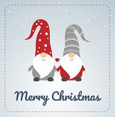 Christmas Card With Scandinavian Gnomes Couple. Happy Cute Little Gnomes In Red And Grey Hats, Holdi poster