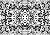 Black And White Foliage Trippy Fractal Mandala Background. Decorative Fantasy Element Flower Pattern poster