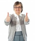 Woman With Double Thumbs-up