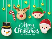 Christmas Hanging Elements Vector Background Design. Merry Christmas Greeting Typography Text With R poster