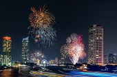 Beautiful Of Fireworks Anniversary New Year Celebration With Cityscape Scenery Of Bangkok City, Thai poster