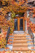 Colorful doorway in fall time Montreal, Quebec, Canada