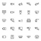 Cctv Camera Line Icons Set. Linear Style Symbols Collection, Outline Signs Pack. Vector Graphics. Se poster