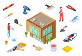 Hardware Store Concept. Construction Supplies Isometric Collection. Vector 3d Store Building Supplie poster