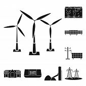 Vector Illustration Of Climate And Alternative Sign. Collection Of Climate And Nature Stock Symbol F poster