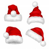 Santa Hat. Red Velvet Christmas Santa Traditional Hat With Fur Vector Collection Isolated. Illustrat poster