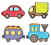 Set of cartoon color cars