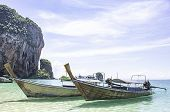 Lots Of Boat Tours And Tourists On The Beach Background Island At Phra Nang Cave Beach , Krabi In Th poster