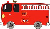 image of fire truck  - Vector illustration of a red cartoon firetruck - JPG